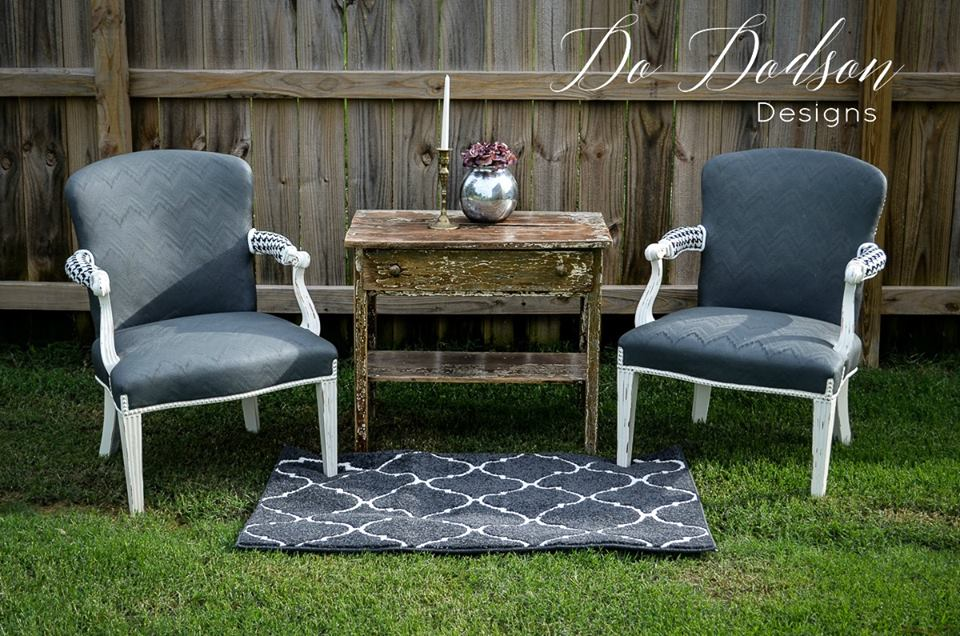 Yes, you can paint fabric on old chairs.