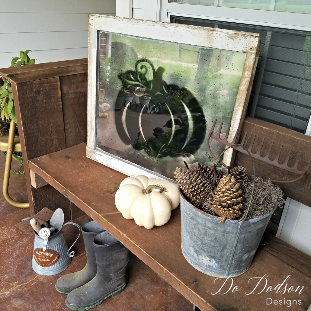 I love how I created fall decor with this re-purposed window.