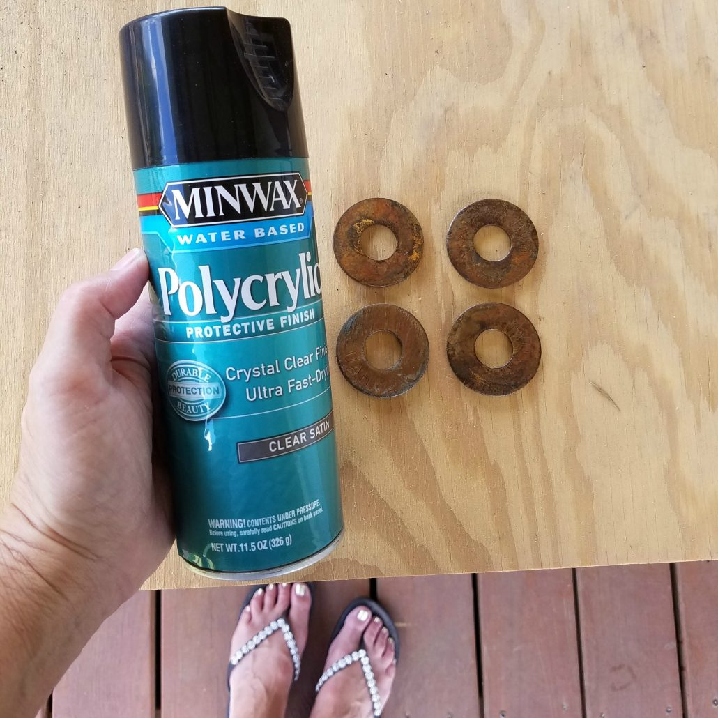 Seal in the awesome rusty goodness with Polycrylic spray before adding them to your wooden tags. #woodentags