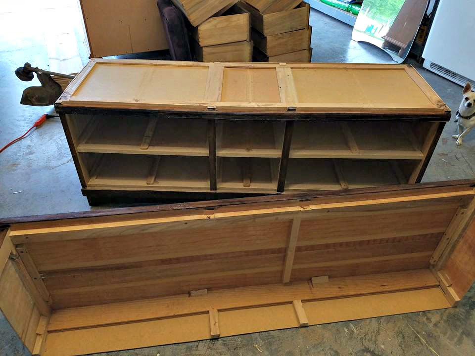 Try this! Remove the top of a wood dresser and make a shorter bench version.