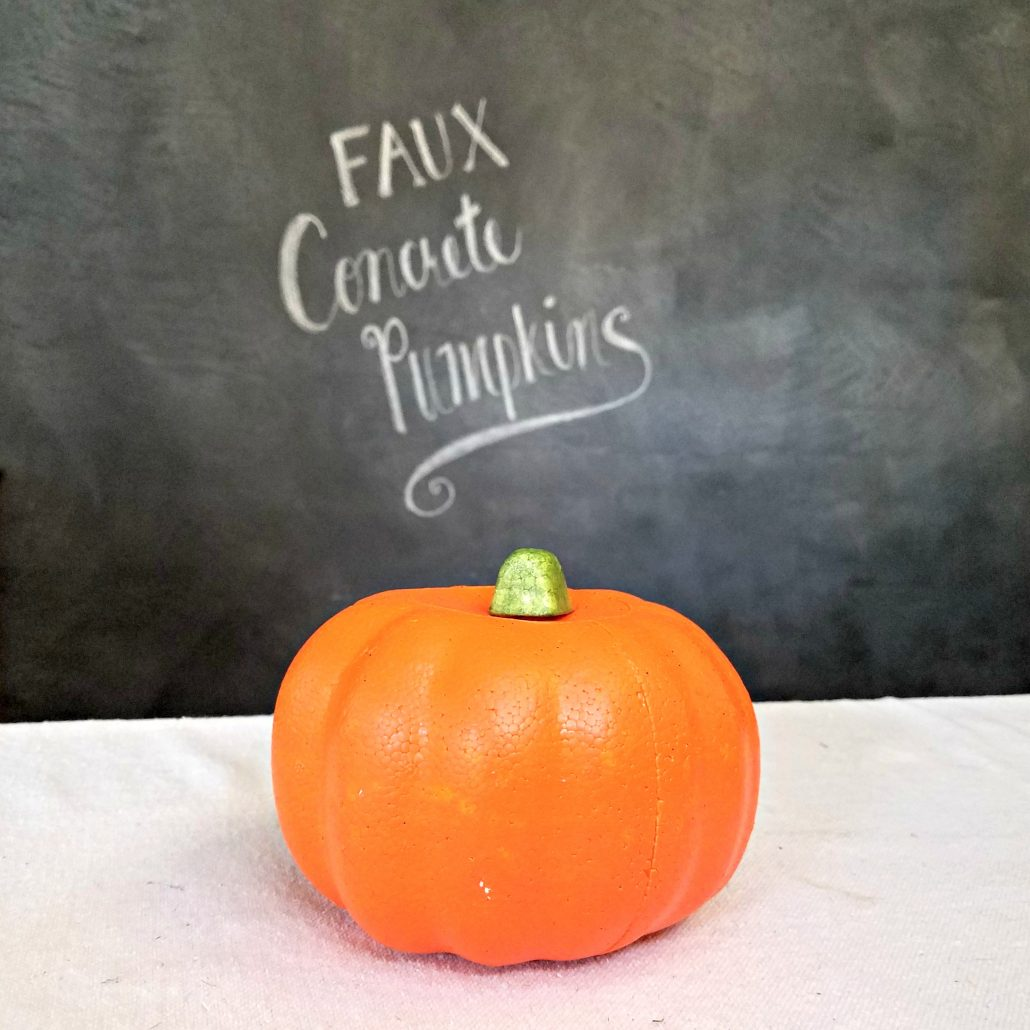Say goodbye to orange and HELLO to a new faux concrete finish on your Dollar Tree pumpkins.