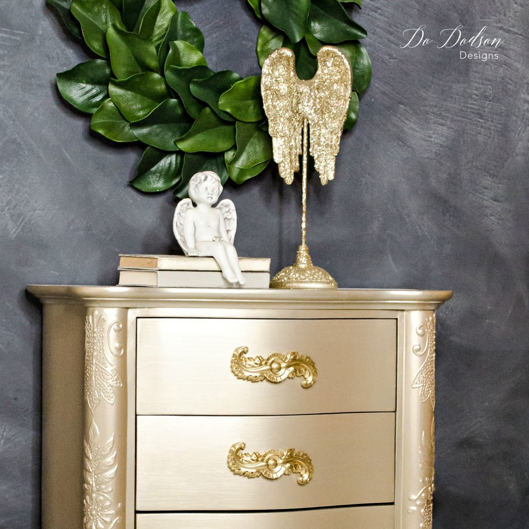 Champagne metallic painted furniture. #dododsondesigns #paintedfurniture #furnituremakeover