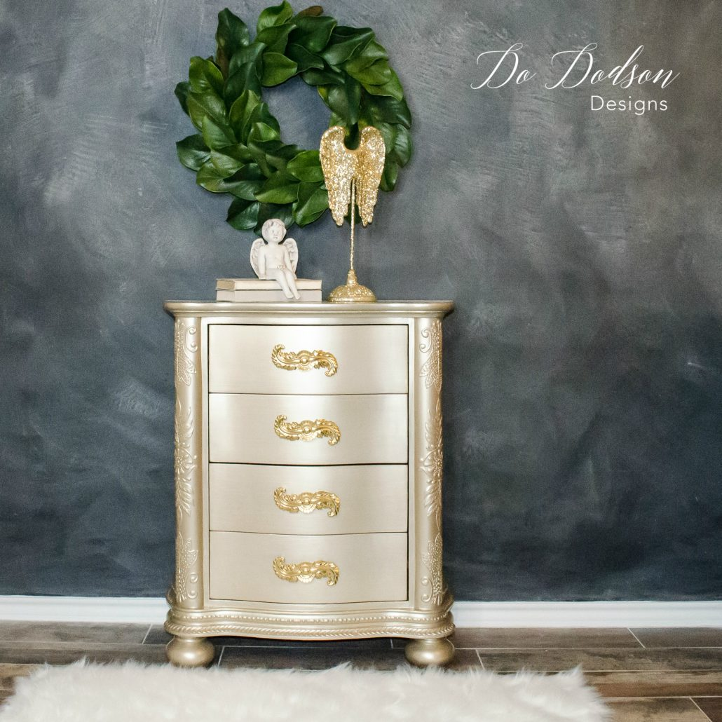Champagne metallic painted furniture. #dododsondesigns #paintedfurniture #furnituremakeover #metallicpaintedfurniture