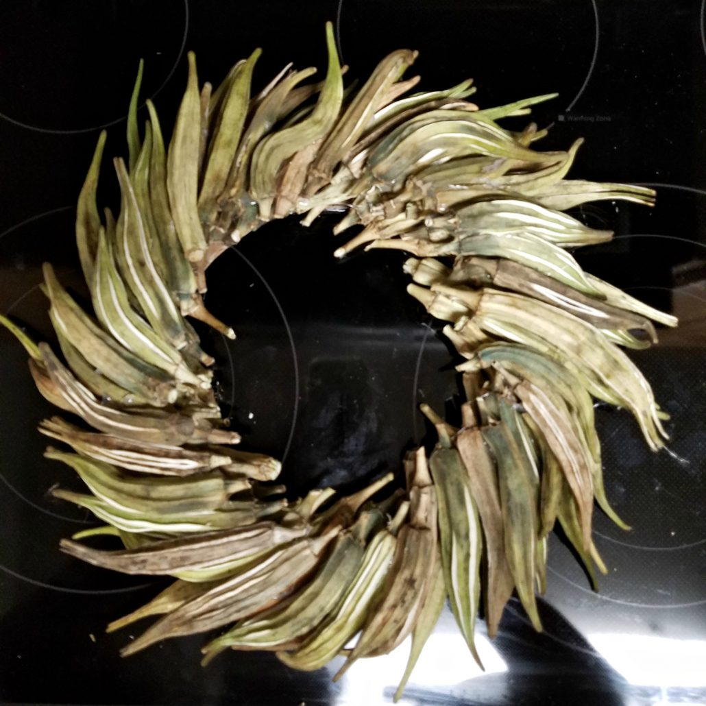 Fall wreaths made from okra? I knew okra was good for something!