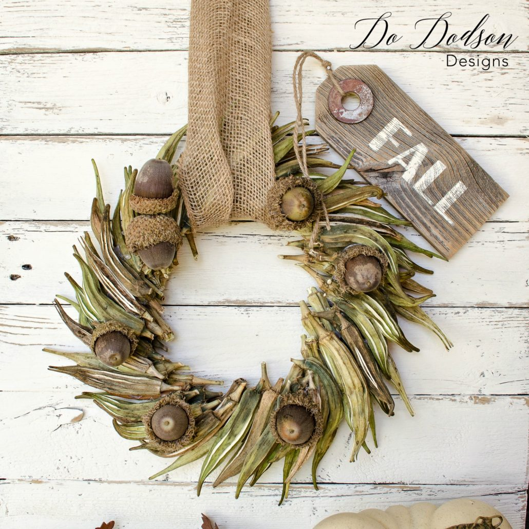 DIY Fall wreath made from okra and acorns! How fun!