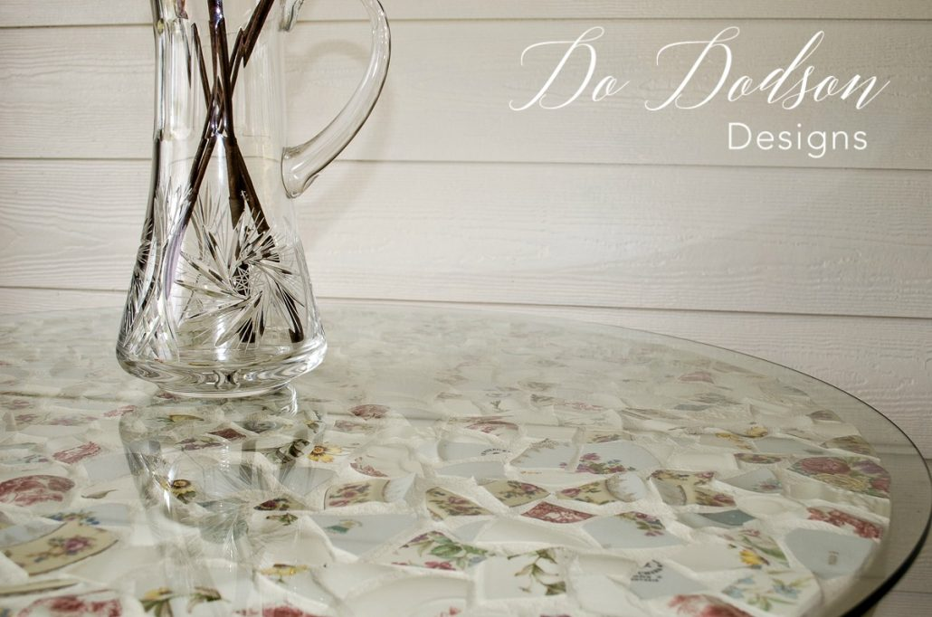 My grandmother's old china and her memory will live on in this mosaic table top. #dododsondesigns #mosaictable