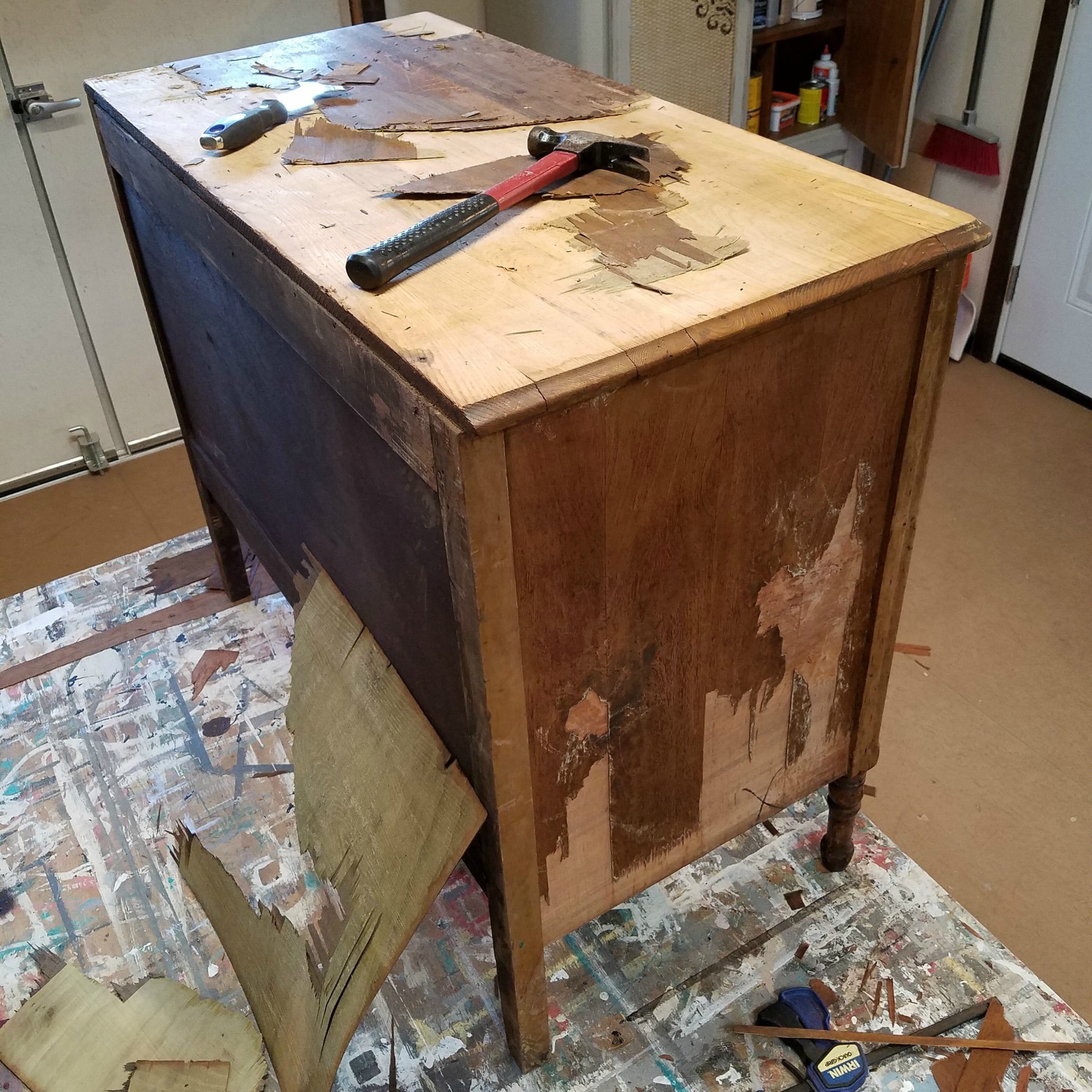 Look What Removing Veneer Did To This Wood Dresser