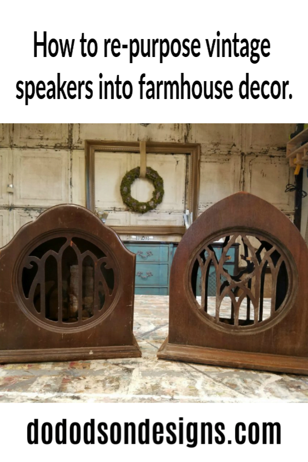 How to easily re-purpose vintage speakers into farmhouse decor.