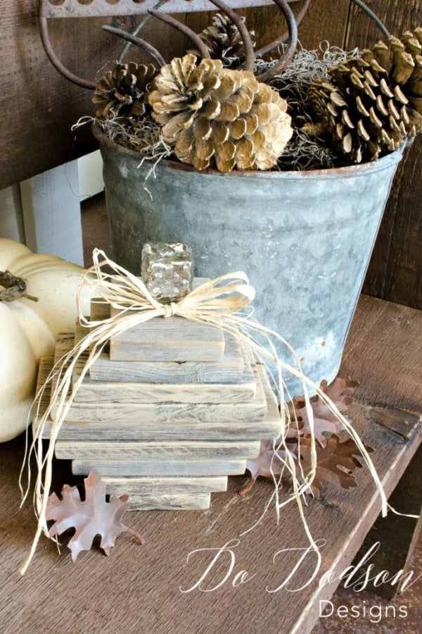 Nothing says Farmhouse like a weathered wood project. Create these amazing wooden pumpkins for almost nothing.