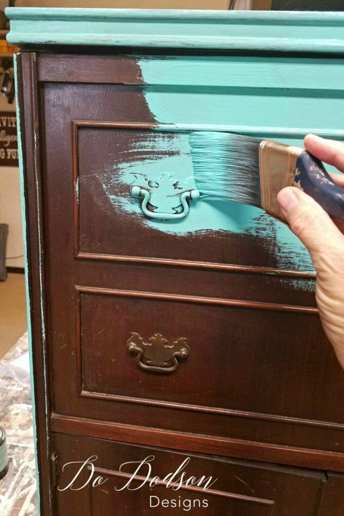 Forget Paint, Try Copper Leaf Finish On Your Furniture. You won't believe the transformation this mini bar got!