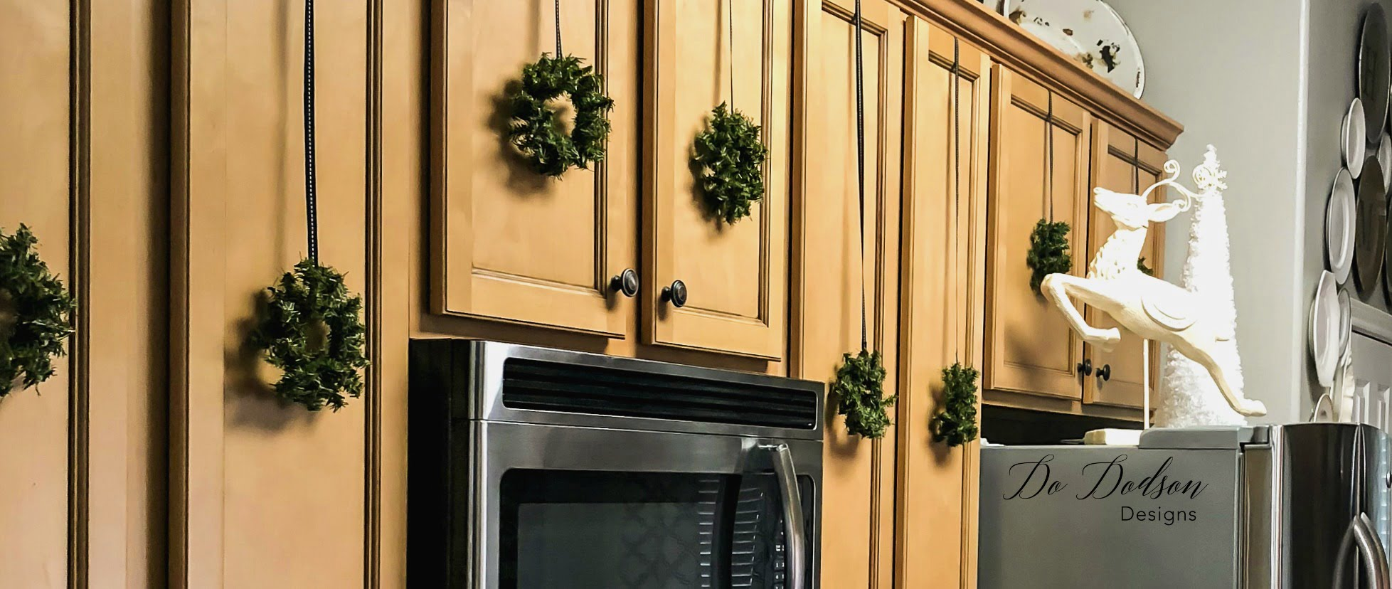 Mini Wreaths for holiday kitchen cabinets.