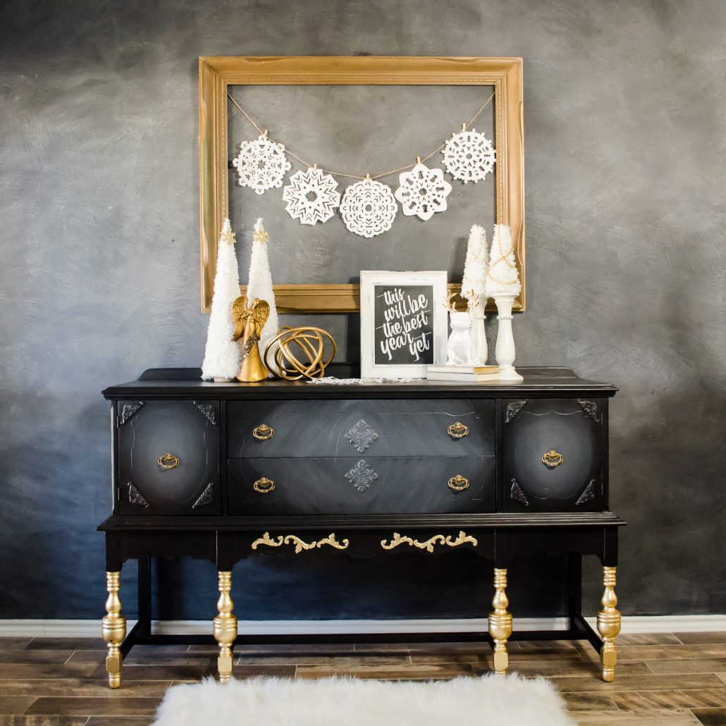 How to paint black furniture with a touch of gold leaf for a holiday GLAM look.