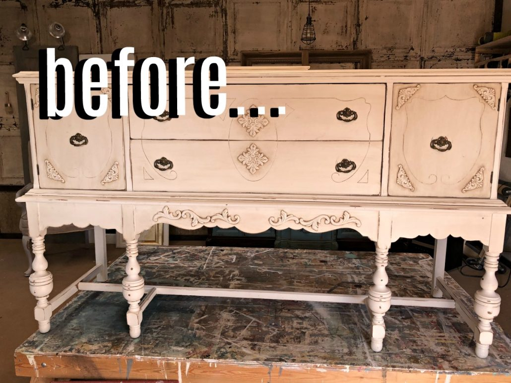 I love a black and gold leaf furniture makeovers. This one is getting glammed up for the holidays.