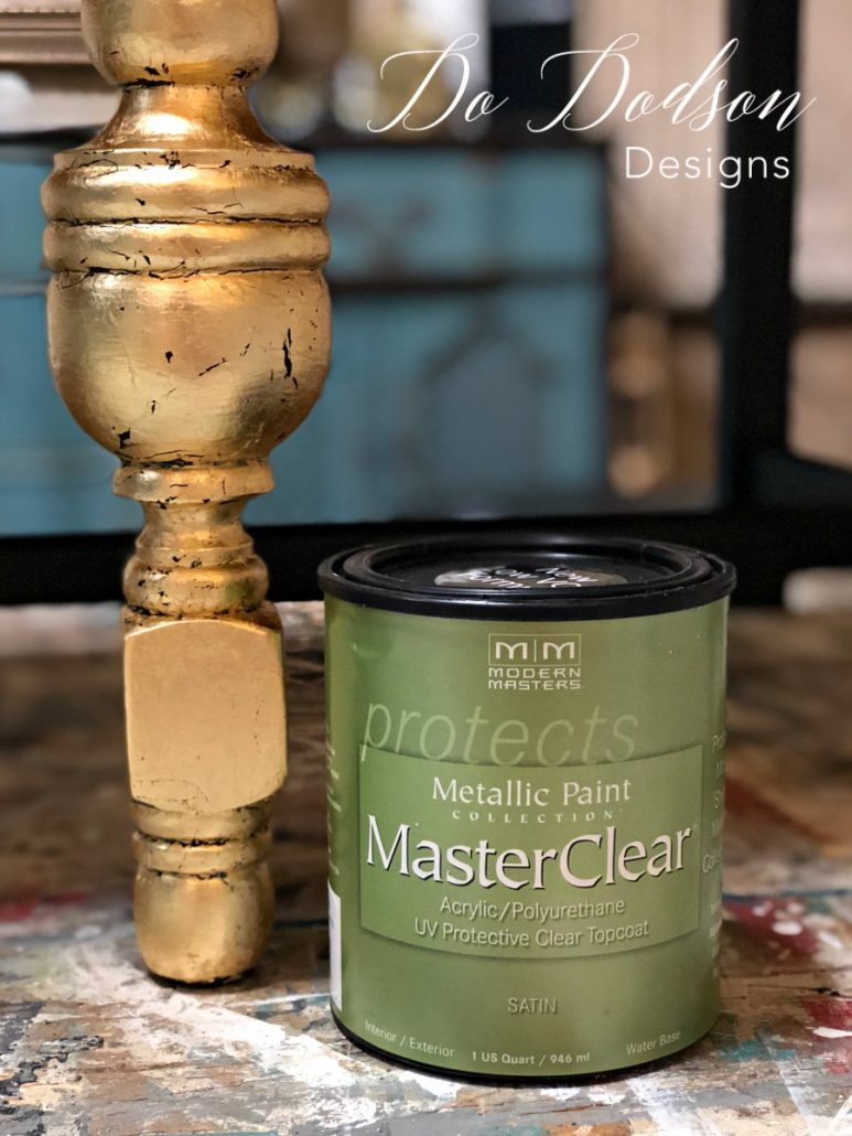 Sealing your gold leaf will keep it from oxidizing and losing it's shine on your black furniture. #dododsondesigns #blackfurniture #goldleaf #paintedfurniture