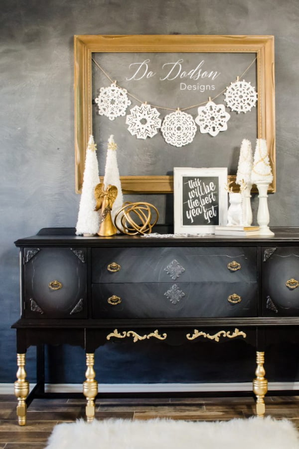 Add gold leaf on furniture for a sensational holiday glam look.