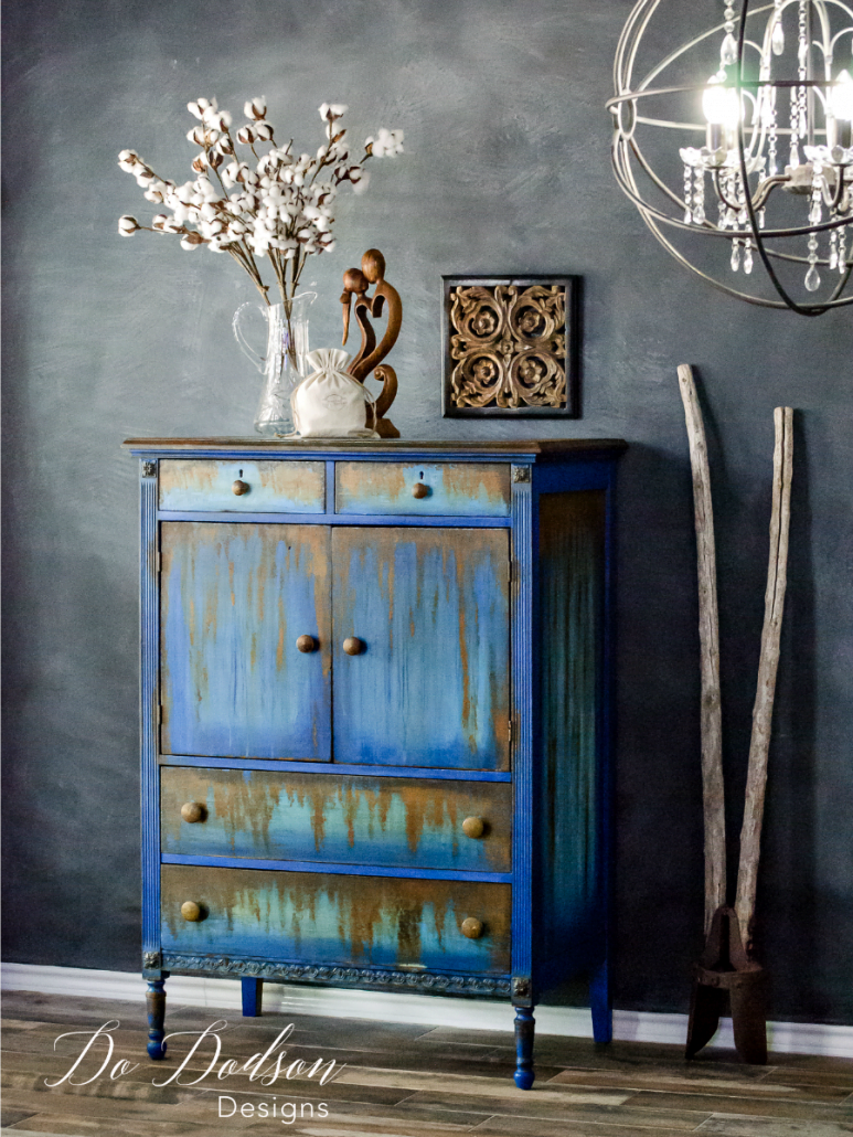 I wouldn't have ever dreamed that rust would looks this good on second hand furniture. Second hand furniture makeover. #dododsondesigns #repurposedfurniture #secondhandfurniture #paintedfurniture #rust #rustpatina #patina #diyproject
