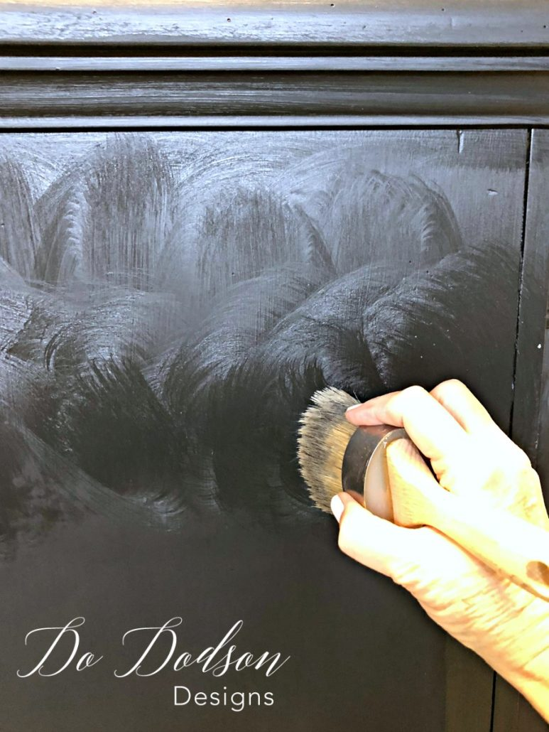 How to apply DIY black wax to a distressed dresser for a gorgeous streak free finish!