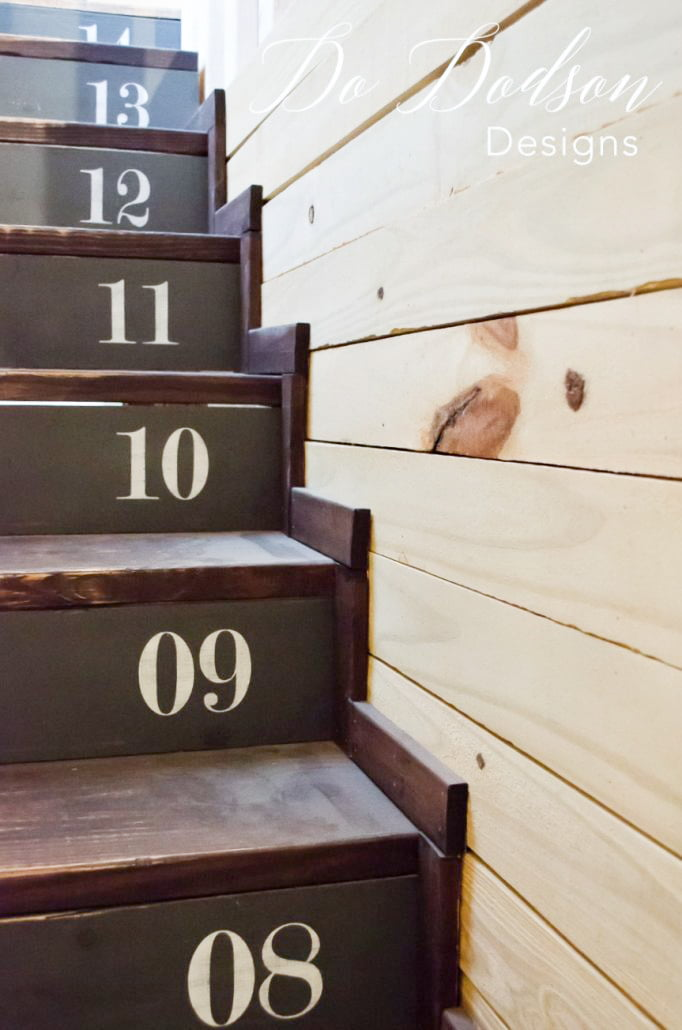 I love how the numbers are painted on the risers of this stairway. It gives me ideas.