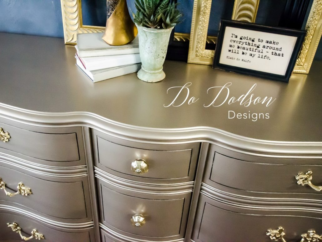 I painted my french provincial dresser with gold metallic paint and I LOVE this finish.
