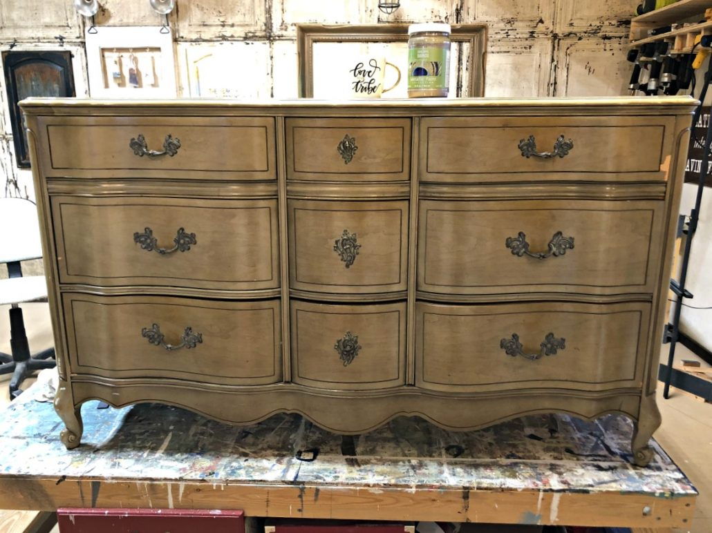 The after is better than the before! This french provincial dresser is getting a paint makeover.