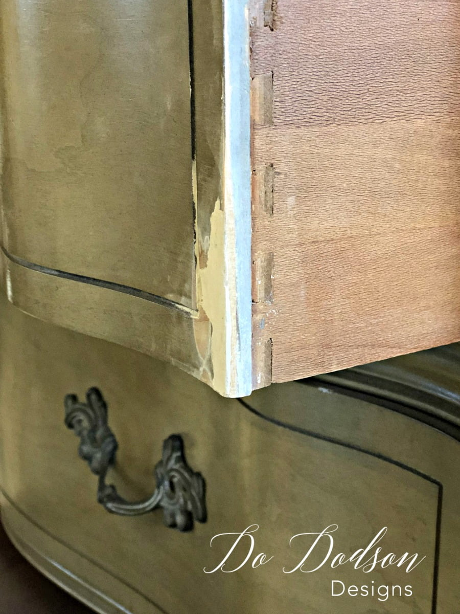 Once the wood filler is sanded smooth, it's ready for your paint finish. #dododsondesigns #woodfiller #furniturerepair