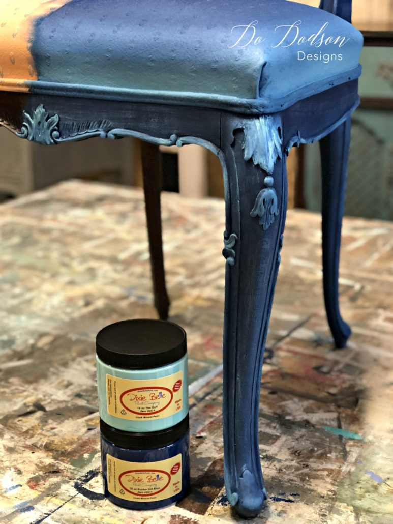 Isn't this incredible??? Painting fabric on chairs is a game changer in furniture makeovers.