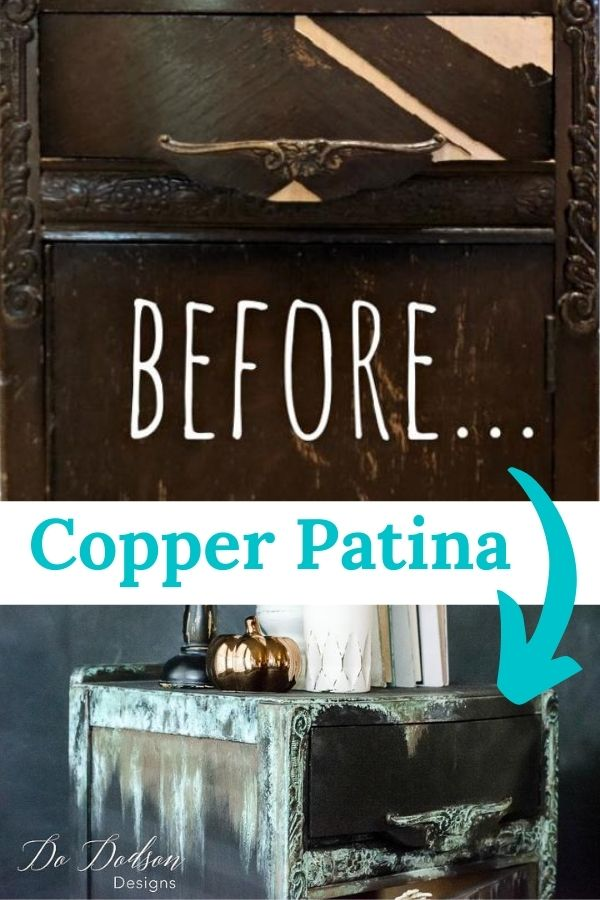 Before adding copper patina to this cute little side table.