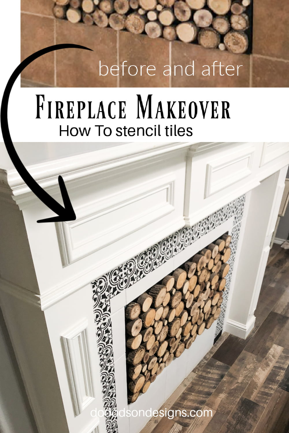 How To Paint & Stencil The Tiles Around Your Fireplace