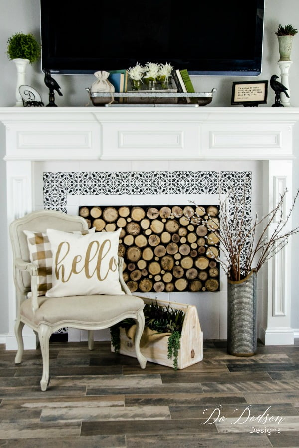 I hope you enjoyed my post on how to paint tiles around your furniture. It was a lot of fun to see the transformation.