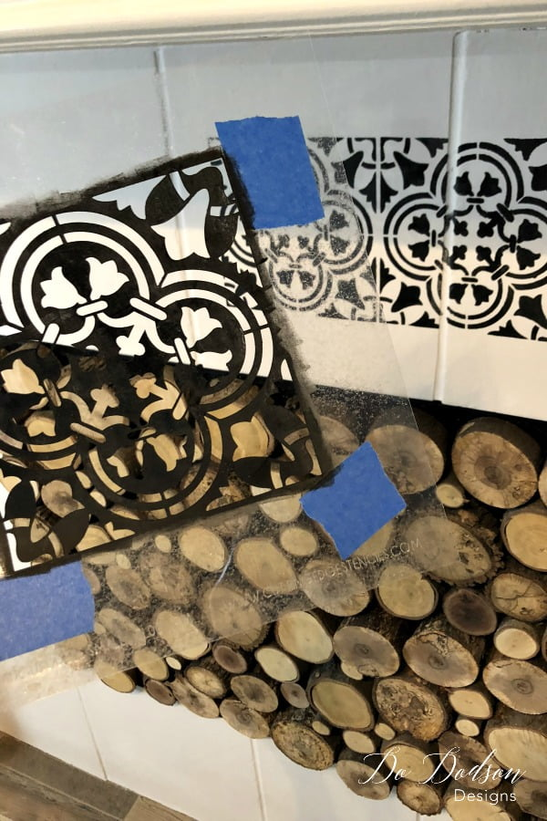 Learning how to paint over tiles is the easy part. It's choosing the stencil pattern that gets my stumped.