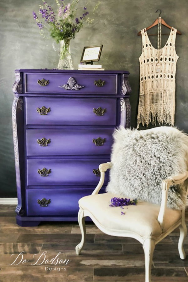 THIS! Bright color painted on this dresser is over the top! Majestic purple for the win.