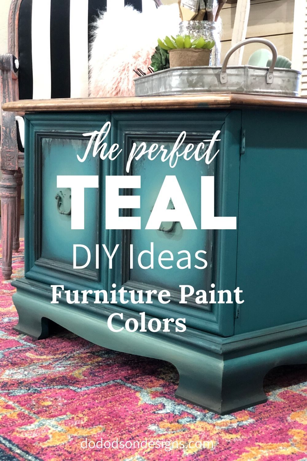 How I Got The Perfect Teal Mixing Furniture Paint Colors