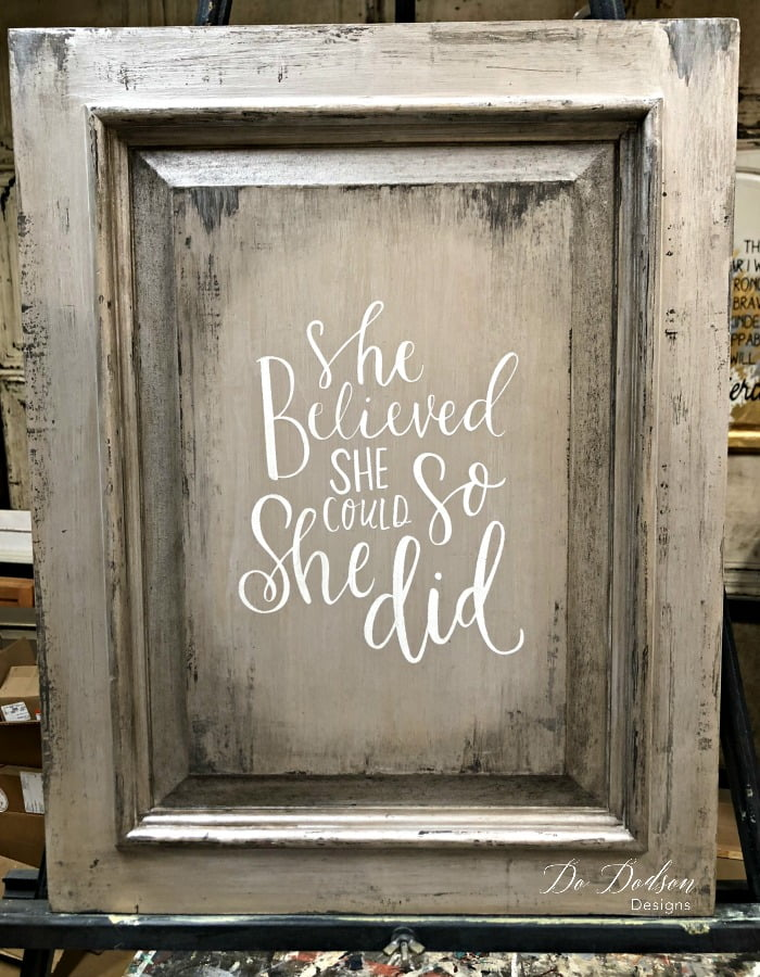 How I Painted A Metallic Finish With A Putty Knife On a Cabinet Door #dododsondesigns #metallicfinish #metalliicpaint #repurposed #diysign #wallartideas #diyart #diysigns #diywoodsigns