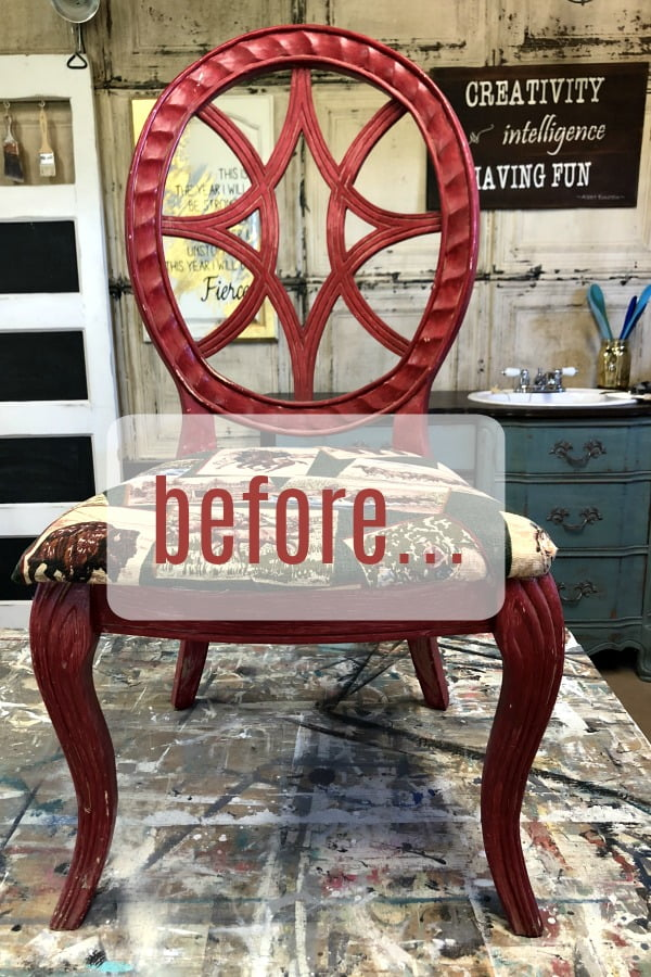I Painted A Metallic Finish With A Putty Knife on a chair... you gotta see this! #dododsondesigns #metallicfinish #metallicpaint #paintedfurniture#furnituremakeover #refurbishedfurniture
