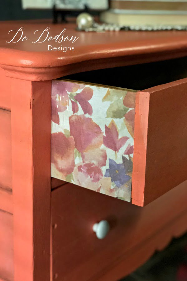 GORGEOUS! I love the way this vintage paper looks on the sides of these drawers.
