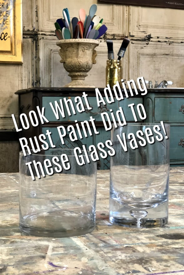 Look What Adding Rust Paint Did To This Glass Vase!