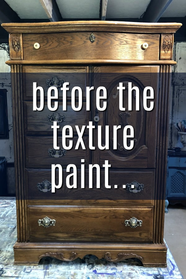 I added a texture medium to my paint and created this amazing look on this dresser. Just added it right into the paint. It was super easy. #dododsondesigns #textured #texturepainting #paintedfurniture #furnituremakeover #furnitureartist