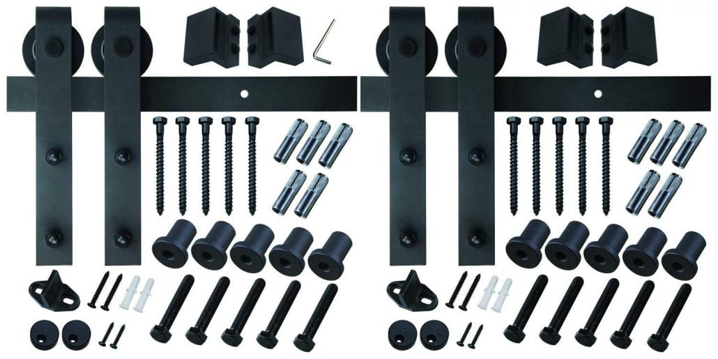 13 FT Double Door Sliding Barn Door Hardware (Black) (J Shape Hangers) (2 x 6.6 foot Rail) #affiliate