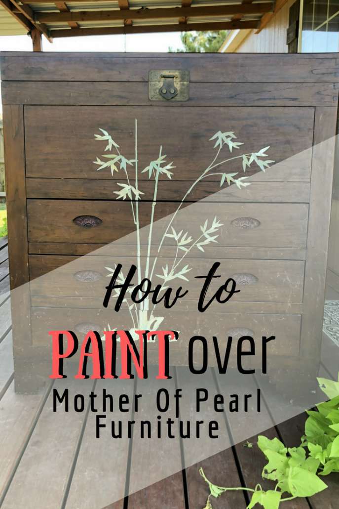 Did you know you can paint over mother of pearl furniture inlays? I have passed these pieces up for years until I discovered how to paint over it. The beauty of the design is still there but the color change now matches my home. I LOVE it! #furnitureartist #dododsondesigns #paintedfurniture #furnituremakeover #diyproject #diyhomedecor #motherofpearl