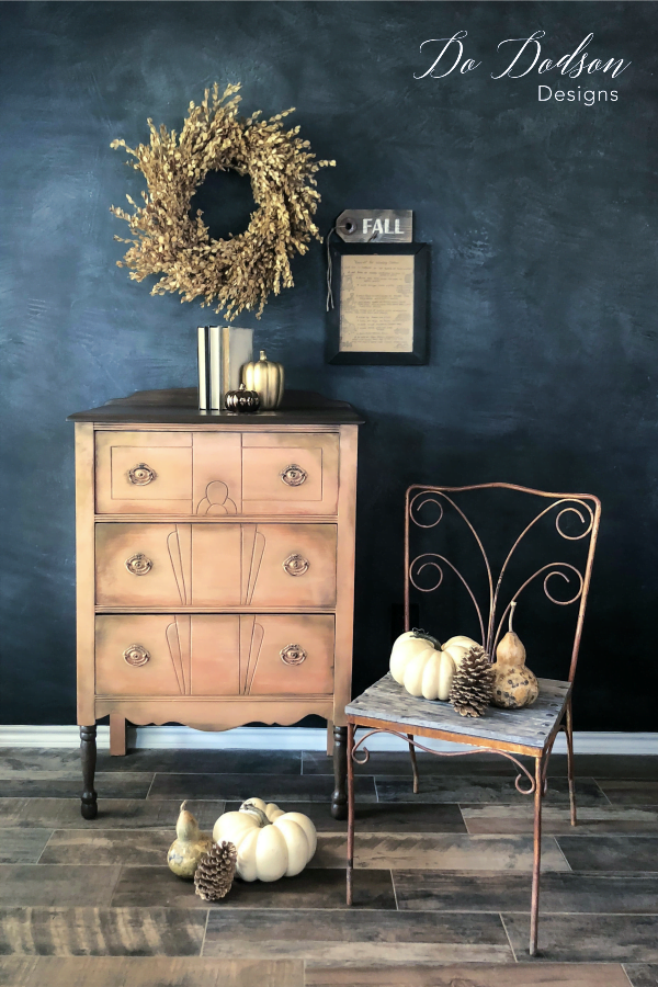 Thrift furniture makeovers don't have to be boring when you use metallic paint.