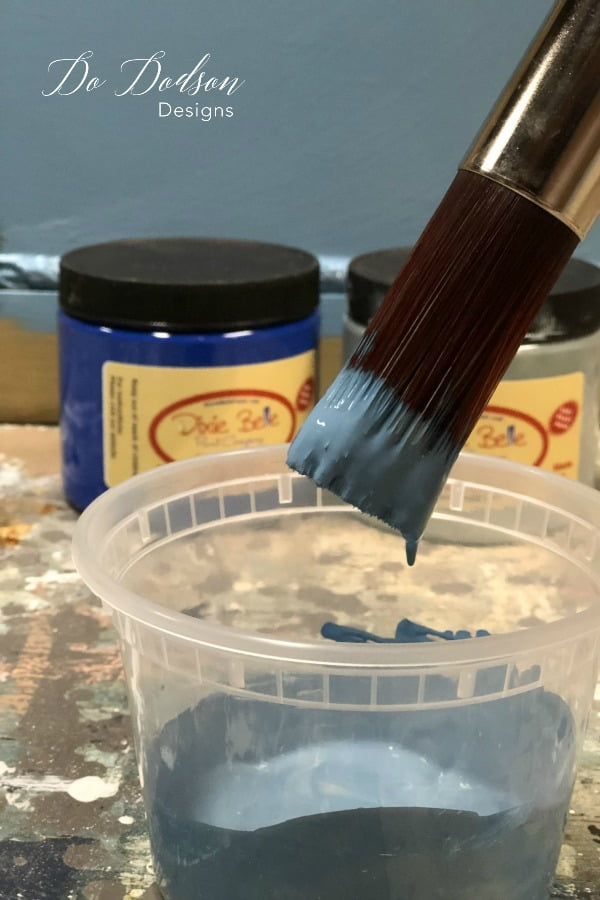 I got a beautiful farmhouse blue by mixing Dixie Belle's Cobalt Blue and Duck Egg Blue.