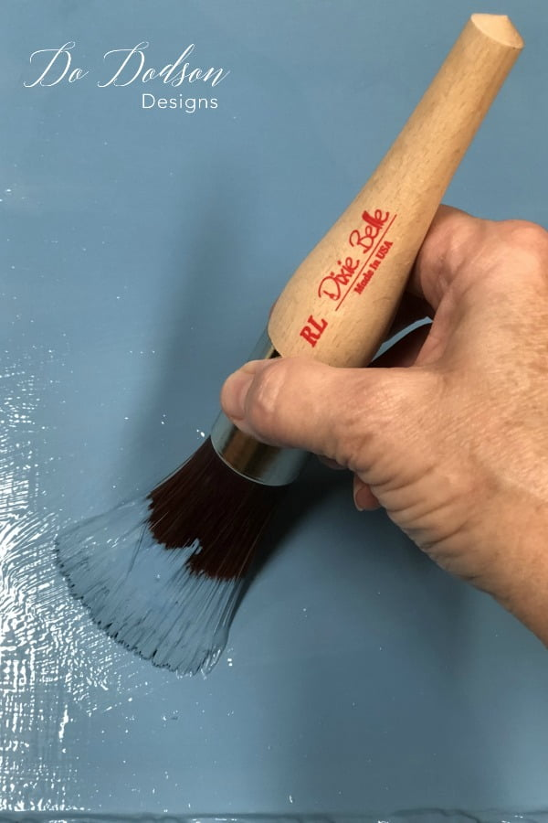 I got a beautiful farmhouse blue by mixing Dixie Belle's Cobalt Blue and Duck Egg Blue. Their new round large brush made the paint glide on. These brushes are amazing!
