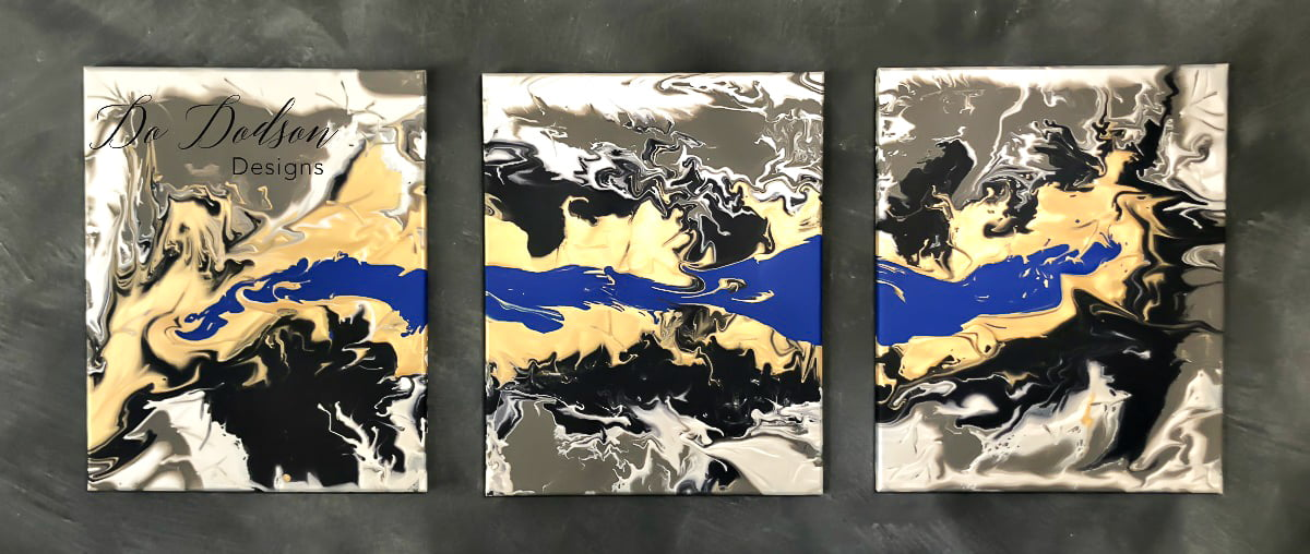 I used the paint pouring technique for this DIY project and I was really pleased. You can easily create a modern painted canvas with leftover paint.