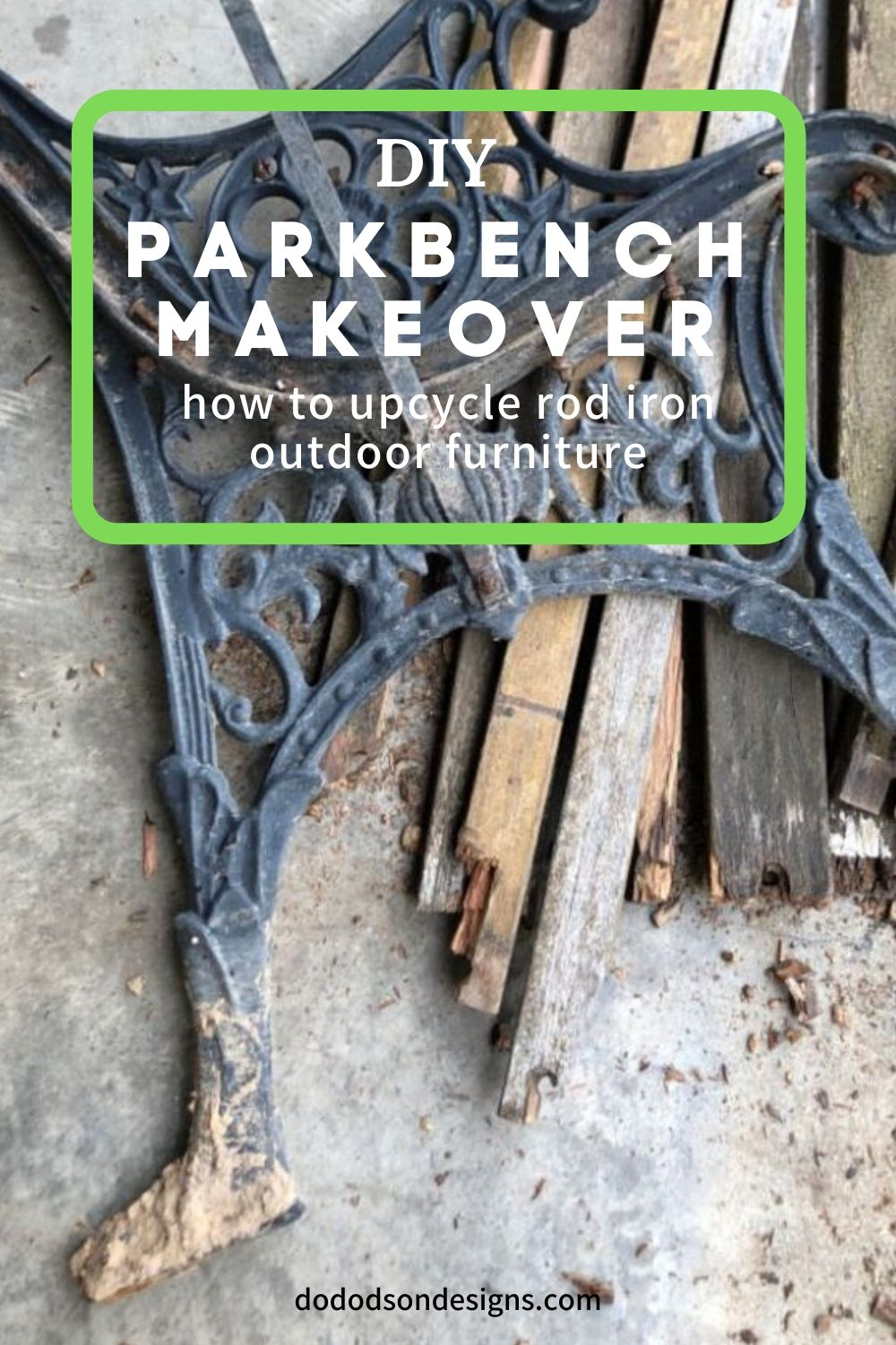 Park Bench Makeover-Upcycling Rod Iron Outdoor Furniture