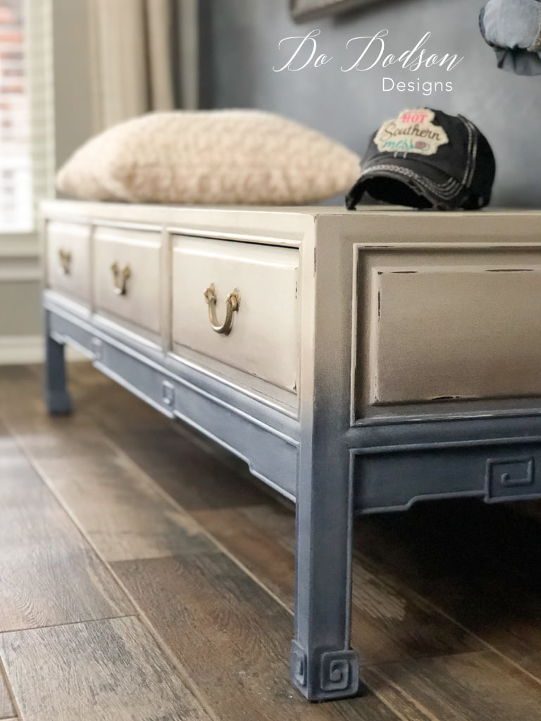 Faded denim painted look on vintage furniture. It a great casual look that will complement any room.