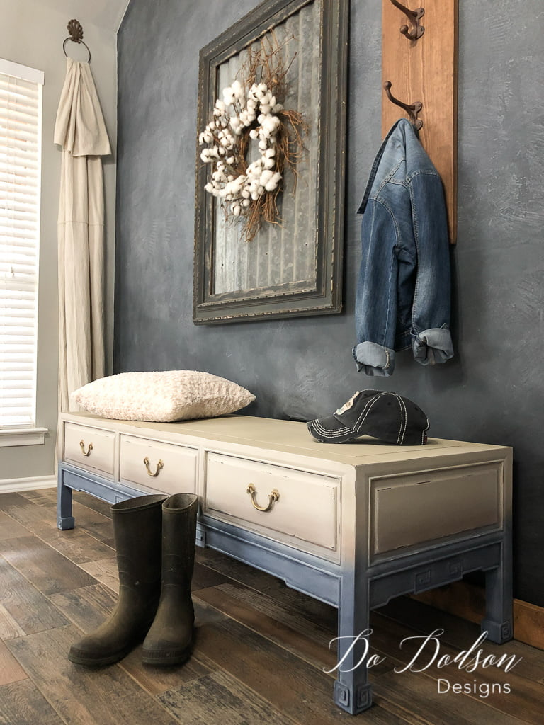 Why not add a little more faded denim to your home. I created this faded denim painted look on this vintage bench with just three colors!