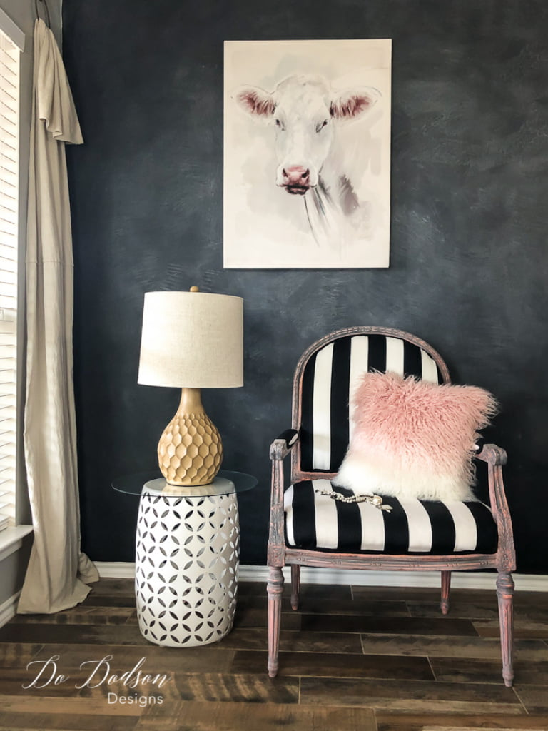Add a touch of modern to a french vintage armchair by adding bold stripes and an aged painted finish