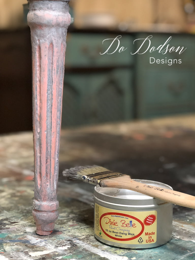 Adding white wax over the painted legs added a softness to the Flamingo chalk mineral paint color.