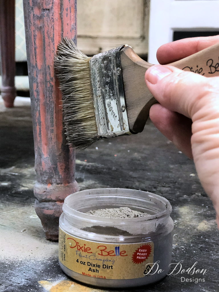 Dixie Dirt was lightly dusted over the wet wax on the painted wood. This created a beautiful soft gray.