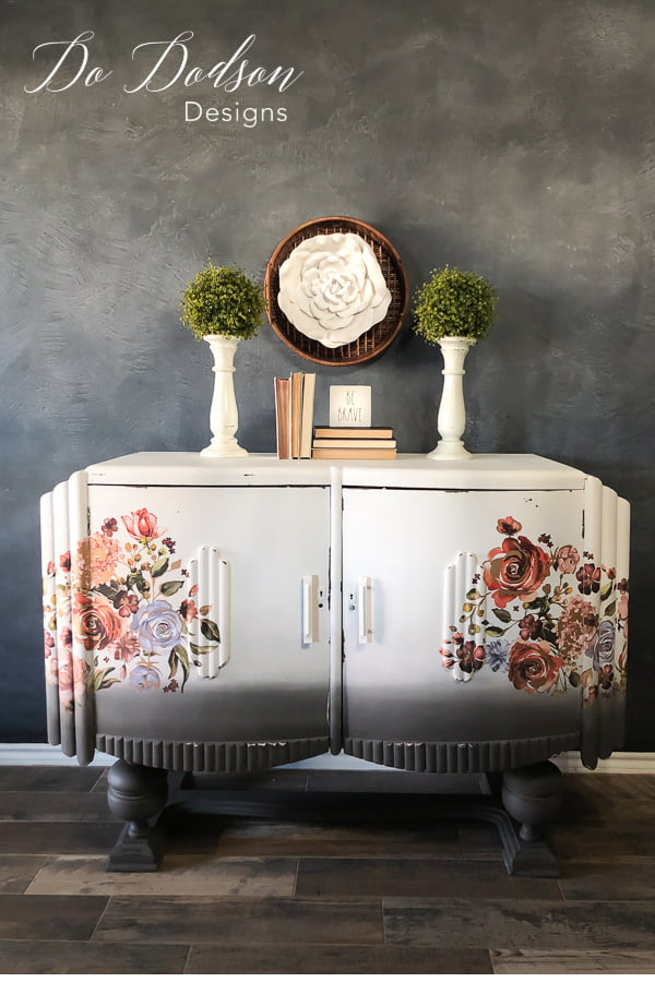 Adding decor transfers on this circa 1930s Art Deco Sideboard really updated the looks.